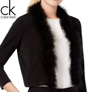 Calvin Klein Open-Front Feather-Trim Shrug